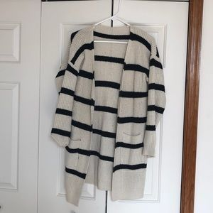 Sweaters - Cream & White Stripped Sweater
